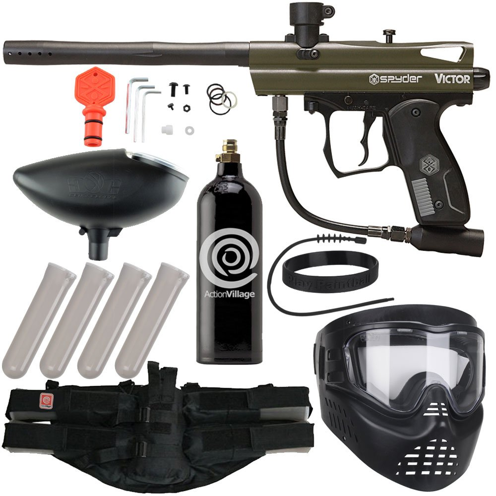 Action Village Kingman Spyder Epic Paintball Gun Package Kit (Victor) (Olive) by Spyder