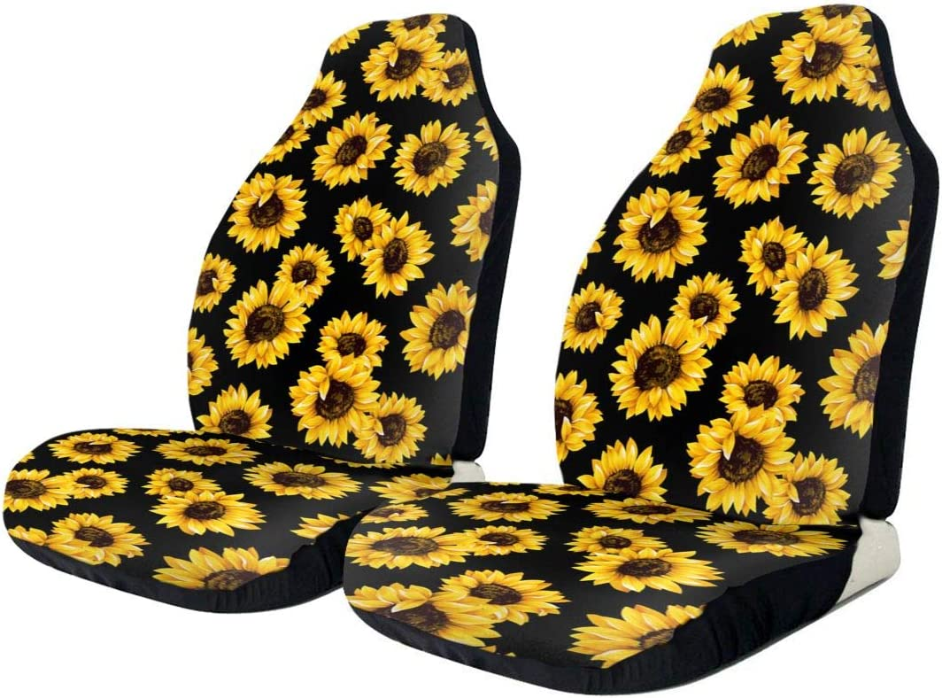 MRSP Car Seat Covers Universal Bucket Seat Cover Fit for Baja,Sedans,Trucks,SUVs and Vans,Soft /& Flexible Polyester Front Seat Protector Saddle Blanket Machine Washable 2 PCS Sunflower