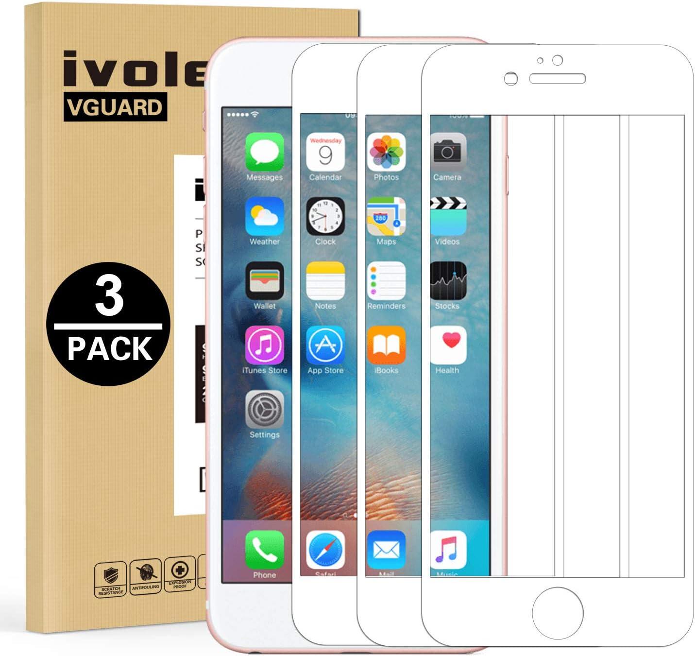 ivoler 3 Unidades Protector de Pantalla para iPhone 6S Plus/iPhone 6 Plus, [Cobertura Completa] Cristal Vidrio Templado Premium, [Dureza 9H] [Anti-Arañazos] [Sin Burbujas] - Blanco