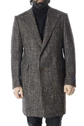 TOMBOLINI Cappotto Invernale da Uomo in Lana Spigato Modello Monopetto 2  Bottoni vestibilità Slim Fit 067c66f2ce4
