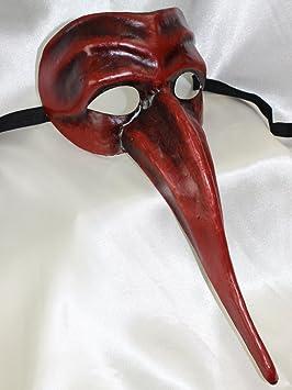 Para hombre rojo y negro Classic Long Nosed Scaramouche estilo médico de la peste negra máscara