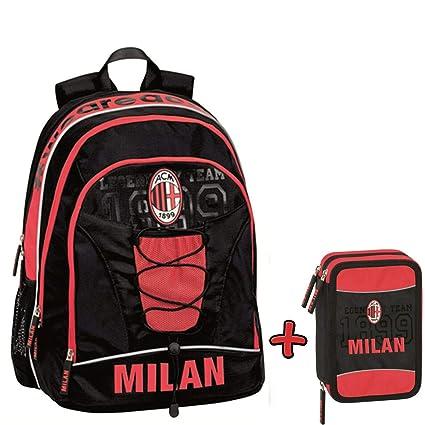 Schoolpack Mochila Orgnizada A.C. Milan - Estuche escolar con 3 ...