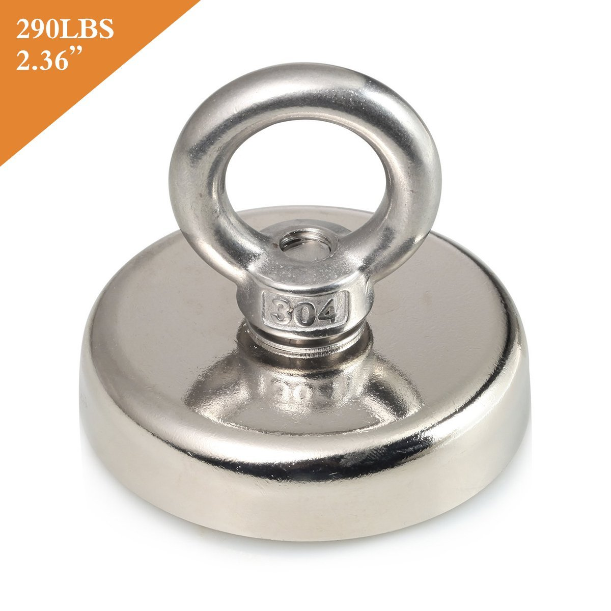 Aitsite Round Neodymium Eyebolt Fishing Magnet Super Power N52 Pulling Force 290LB(132KG) Diameter x 60mm Thick x 15mm for Magnet Fishing and Salvage in River MAG-NJ60