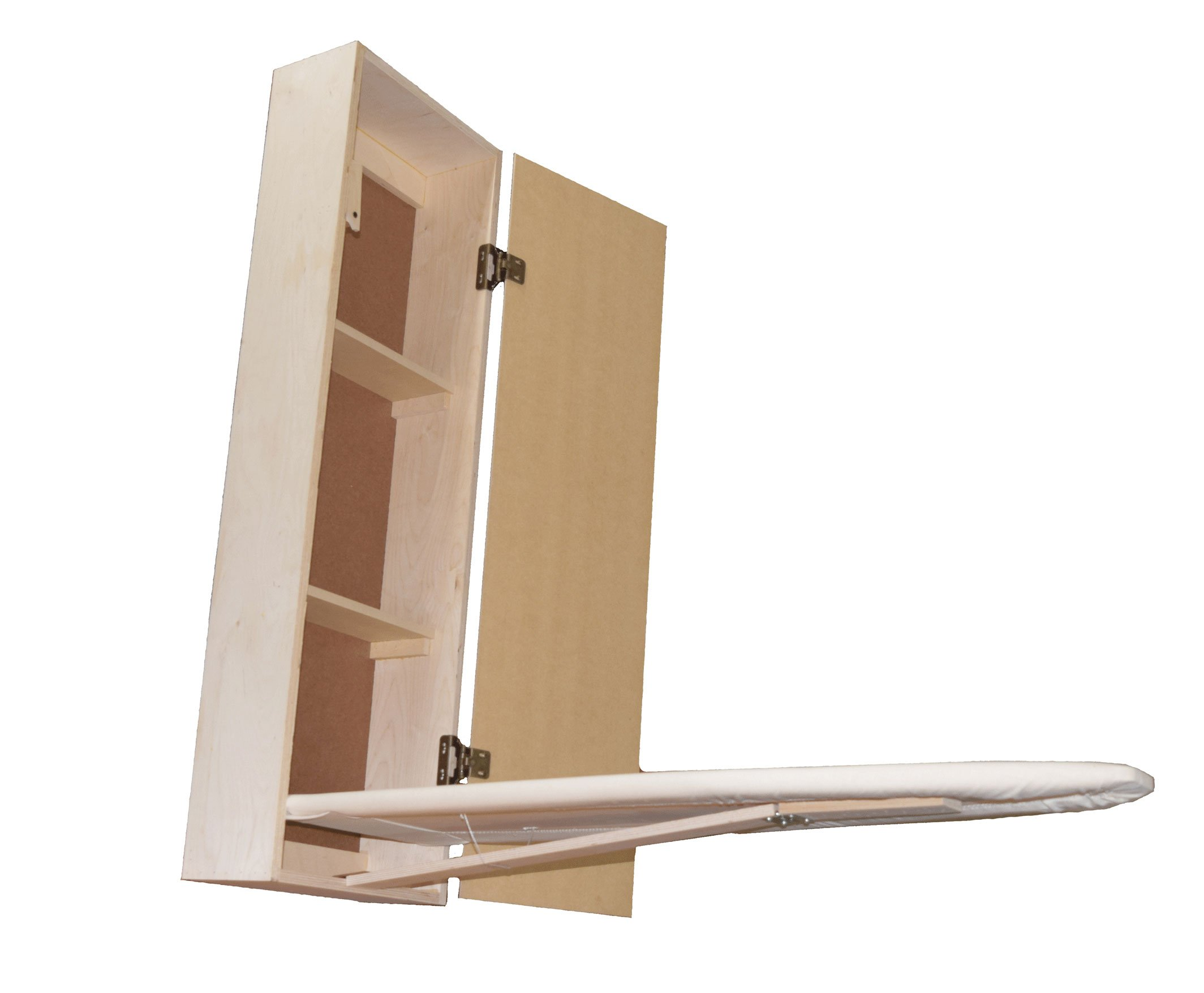 Built-in Ironing Board Cabinet Raw Wood, Iron Storage, Hide Away, Stow, Fold Away, with Routed Door by USAFlagCases (Image #3)