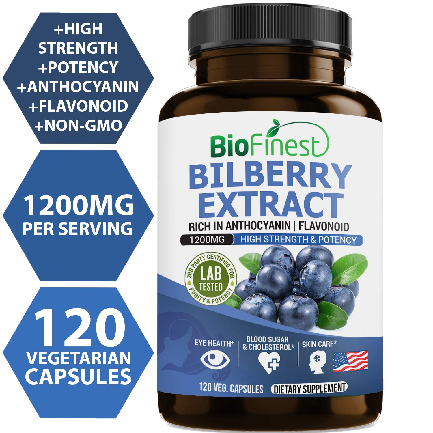 Biofinest Bilberry Extract - 1200mg with 4:1 Bilberry Fruit Extract - Pure Gluten-Free Non-GMO - Made in USA - Supplement for Eyes Health, Blood Circulation,Night Vision (120 Vegetarian Capsules)