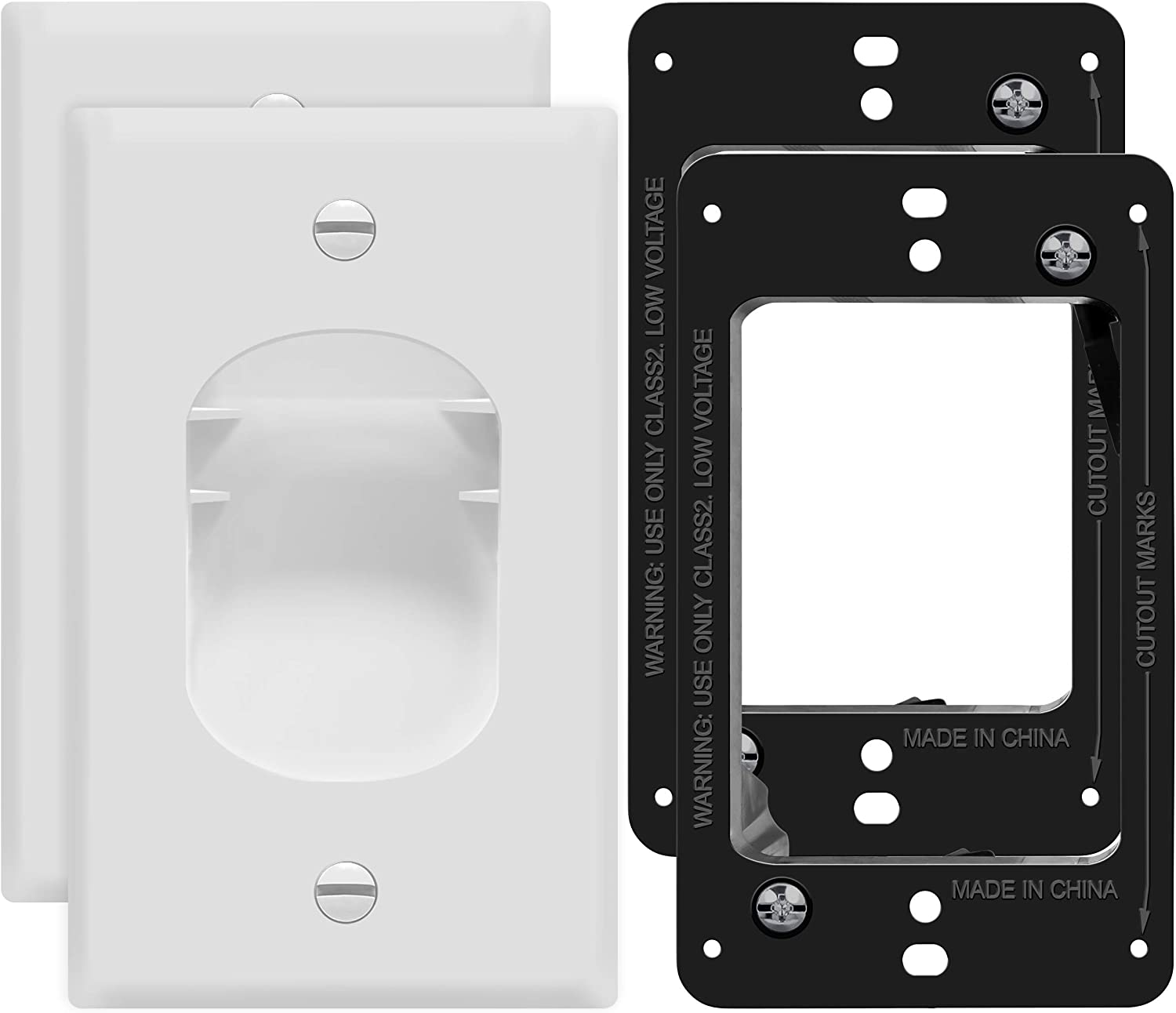 TOPGREENER Recessed Low Voltage Cable Wall Plate for Home Theaters, Pass-Through Wall Plate with Mounting Brackets, Size 1-Gang 4.50