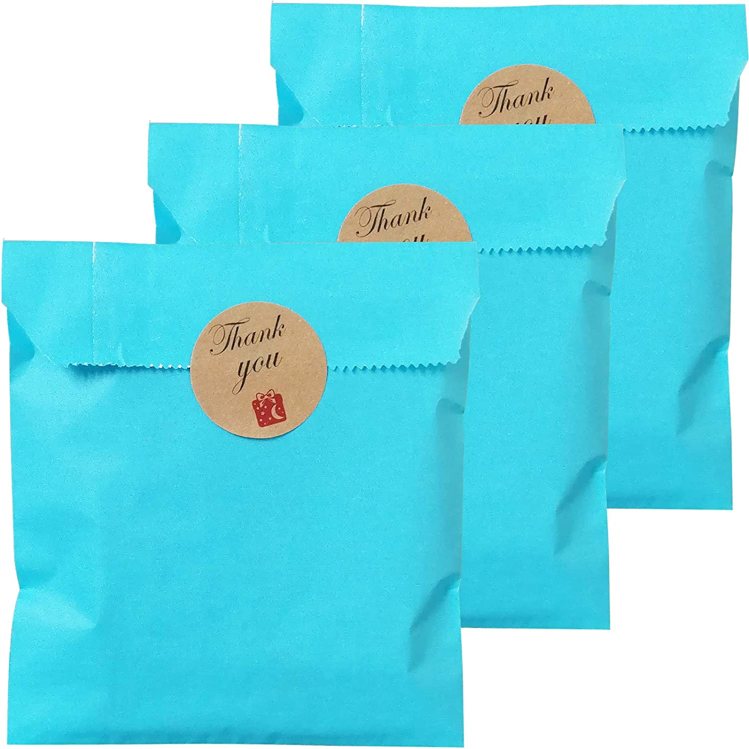 Party Favor Bag 5 * 7 inch, 100 pcs Food Safe Kraft Paper and Ink, Natural (Biodegradable), Vivid Colored Candy Cookie Buffet Bags, Flat Paper Bag with 96 pcs 1.5 inch Stickers.(Solid Sky Blue)