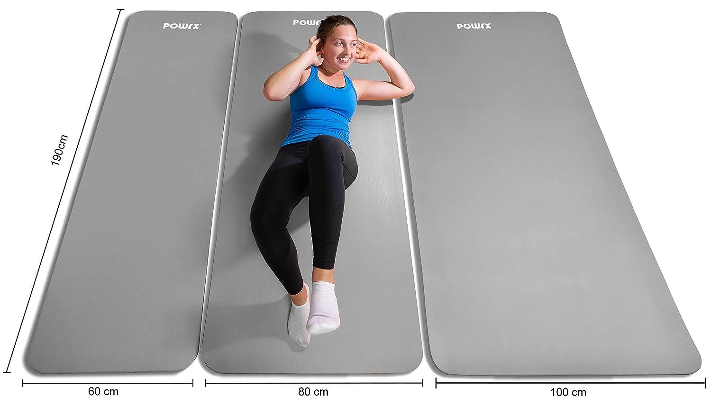 POWRX - Colchoneta Fitness Antideslizante 190 x 60, 80, 100 cm - Esterilla Ideal para Yoga, Pilates y ginnasia - Extra Suave y Grosor de 1,5 cm - ...