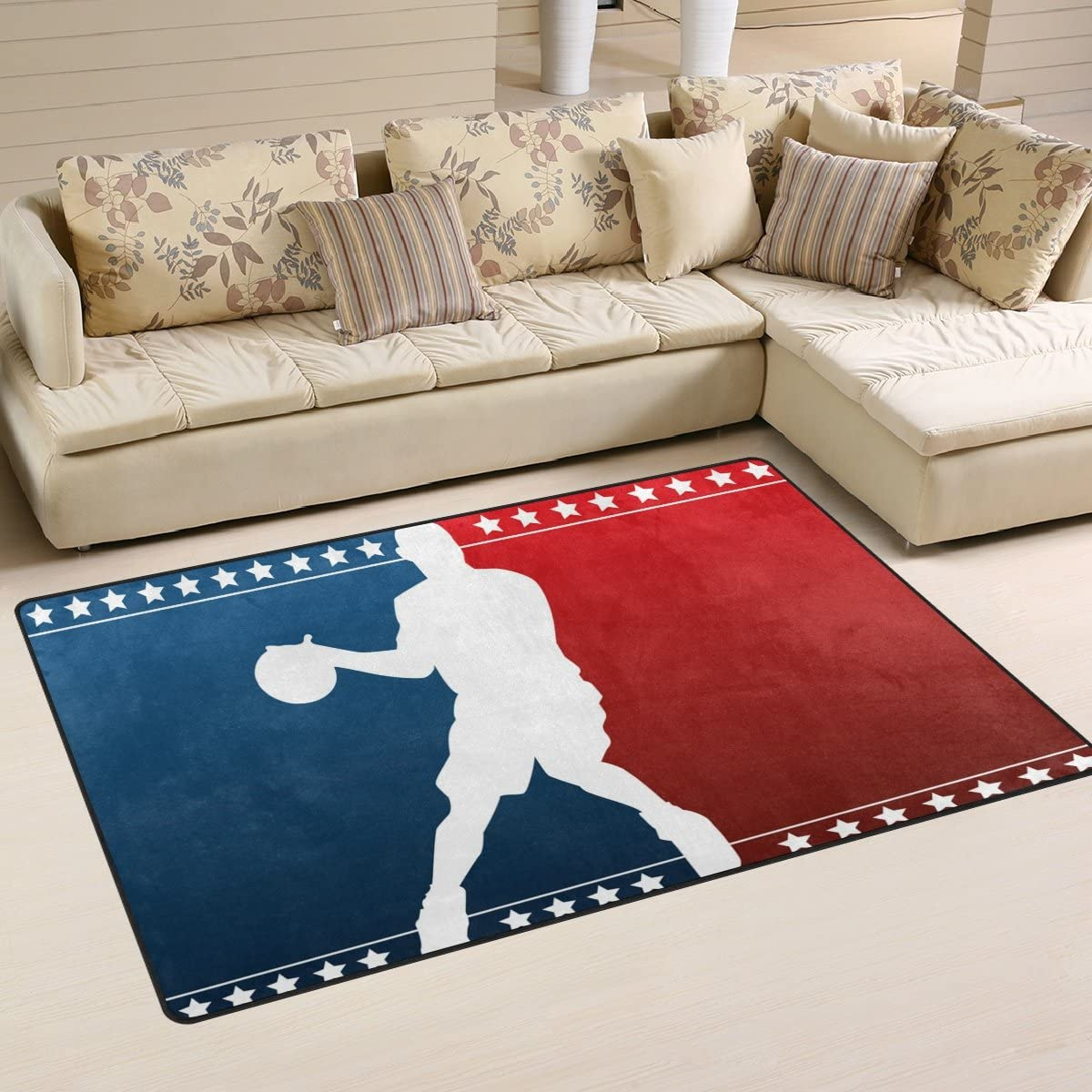 Yochoice Non-slip Area Rugs Home Decor, Vintage Colorful Basketball Player Stars Floor Mat Living Room Bedroom Carpets Doormats 60 x 39 inches