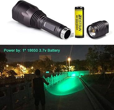 linterna LED impermeable con interruptor de presi/ón 1000 l/úmenes 350 yardas Luz de depredador verde Coyote Varmints Caza Linterna t/áctica led LUXJUMPER Linterna de luz verde