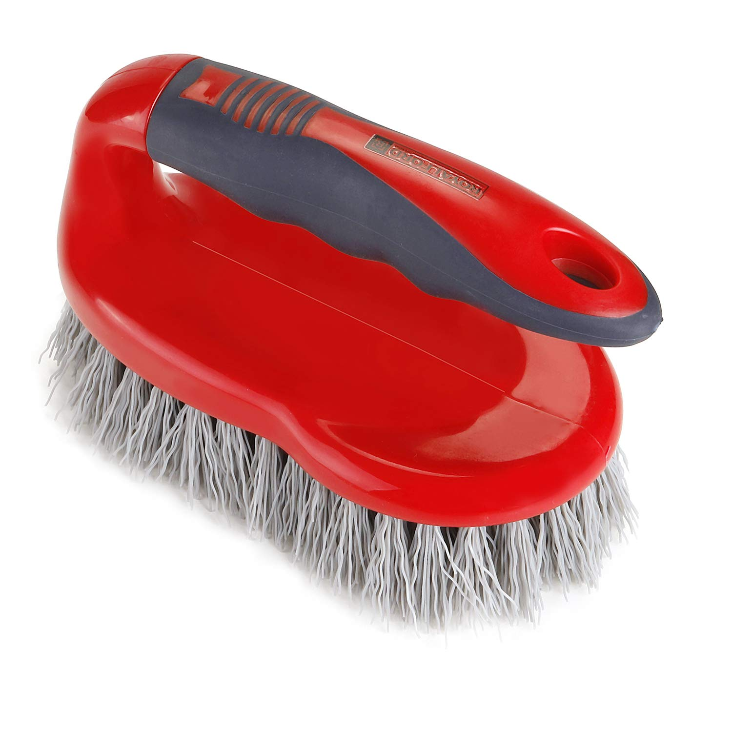 Royalford Scrubbing Brush with Handle, Red Colour, Easy to Clean Hard Bristle Brush Made of Durable Plastic Material
