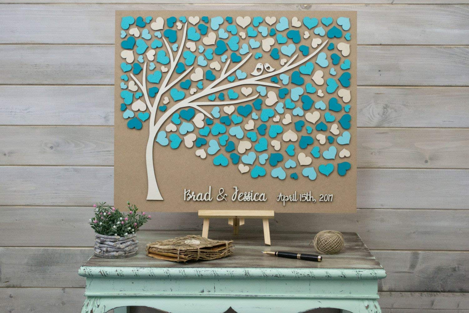 Custom Colors 3D Wedding Guest Book Alternative Guestbook Wedding Wood Hearts Guest Book Unique Guestbook Wooden Tree of Life Wedding Gift