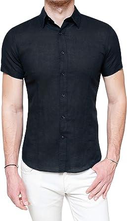 Evoga - Camisa de Lino para Hombre, Estilo Casual, Elegante, de Manga Corta: Amazon.es: Ropa y accesorios