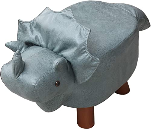 IBUYKE Animal Kids Ottoman, Children Footrest Stool, Cartoon Pouffe Step Stool, Creative Cute Chair Gifts for Kids, Sturdy Solid Wood Support, for Nursery, Bedroom, PlayRoom Blue Dinosaur , URF-BD165