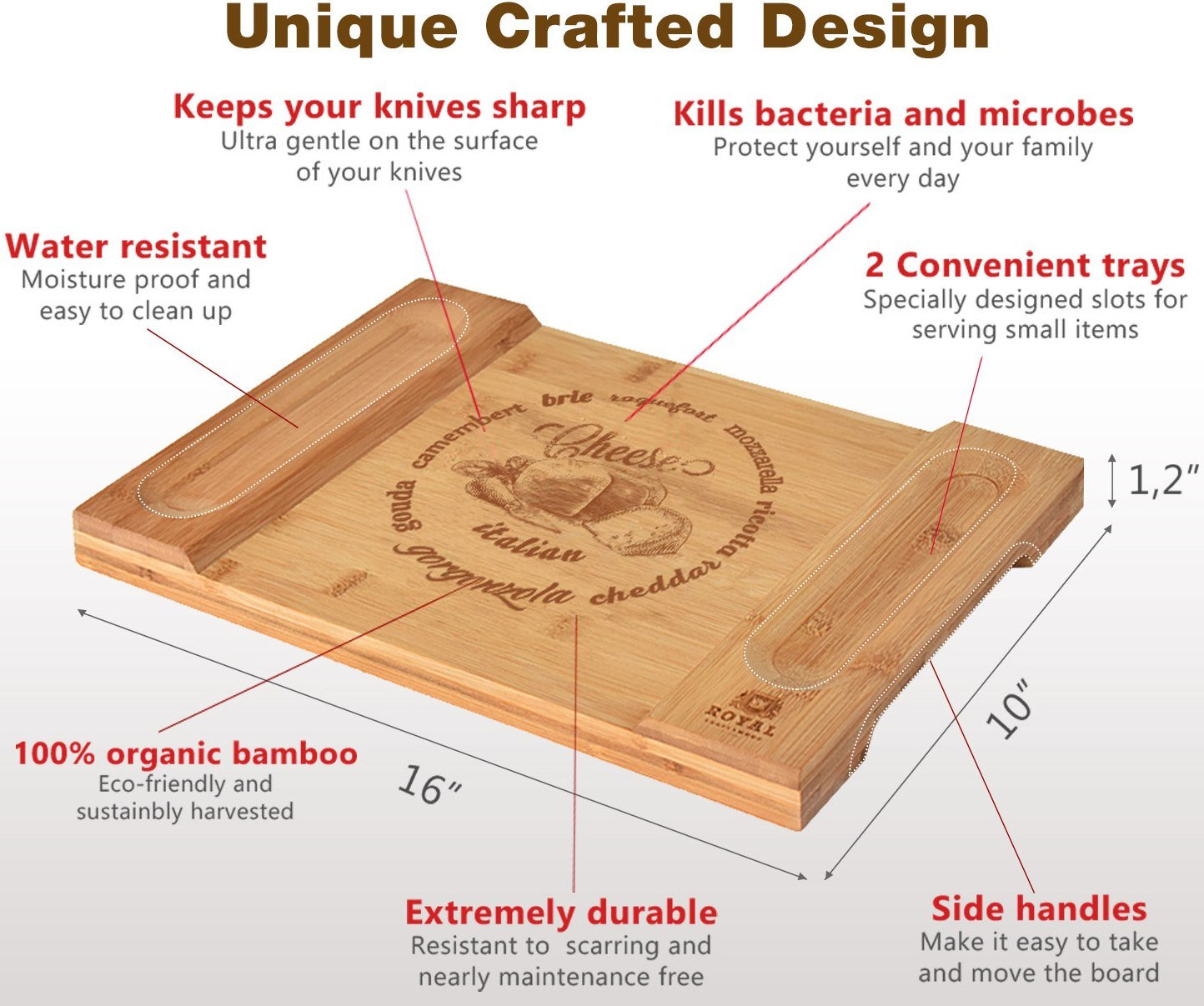 Unique Bamboo Cheese Board, Charcuterie Platter & Serving Tray for Wine, Crackers, Brie and Meat. Large & Thick Wooden Server - Fancy House Warming Gift & Perfect Choice for Gourmets (Bamboo) by Royal Craft Wood (Image #2)