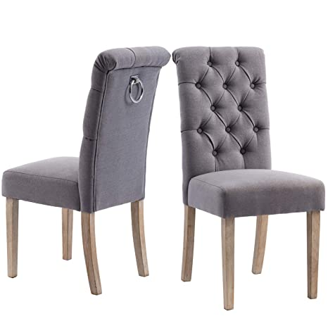 Upholstered Comfy Dining Chairs,Linen Fabric Kitchen Chairs with Solid Wood  Legs Set of 2 (Gray)