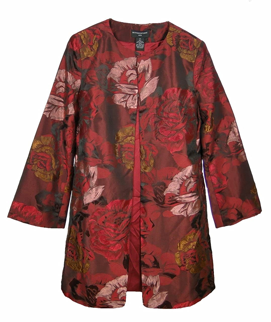 Sutton Studio Women's Red Floral Jacquard Jacket Topper