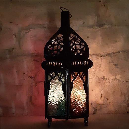 Farolillo marroquí colorido oriental de estilo marroquí para jardín, farol de metal marroquí para exterior como farol de jardín, o interior como farol de mesa.: Amazon.es: Iluminación