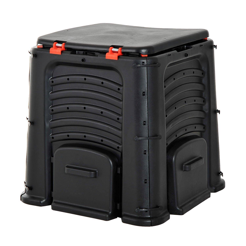 Black 4 Door Garden Compost Bin Capacity 106 Gallon w/ Top Opening