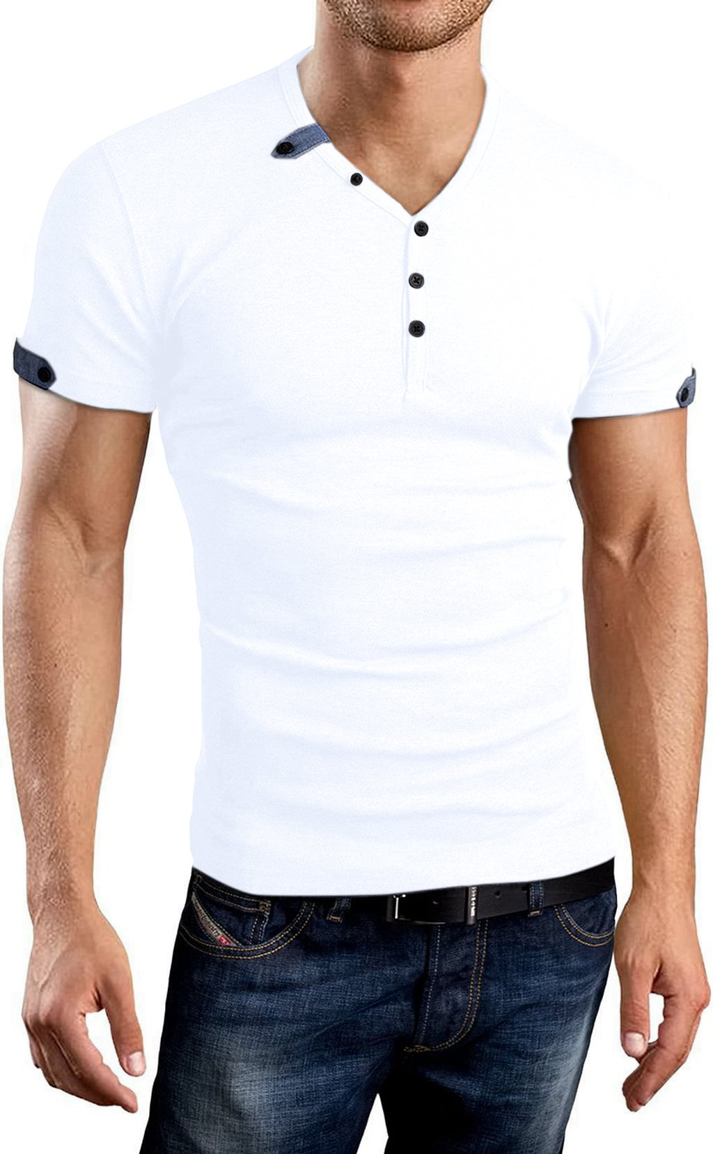 Aiyino Mens Summer Casual V-Neck Button Cuffs Cardigan Short Sleeve T-Shirts (US L, White)