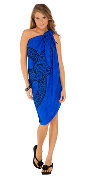 ad1b64a875 1 World Sarongs Womens Celtic Cover-Up Sarong Celtic Cross in Royal Blue