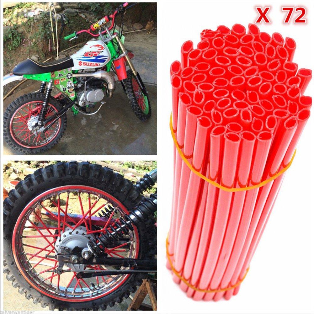 DIXIUZA 72Pcs motocicleta habló pieles cubre ruedas de recorte de la cubierta de la pipa decorativos abrigos protectores kits se adapta bicicleta ...