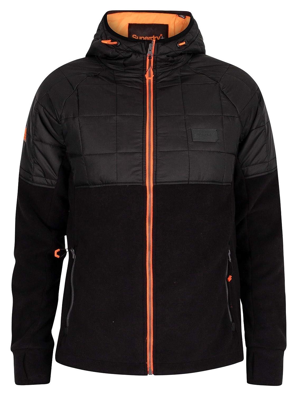 Black Superdry Mens Polar Fleece Hybrid Jacket