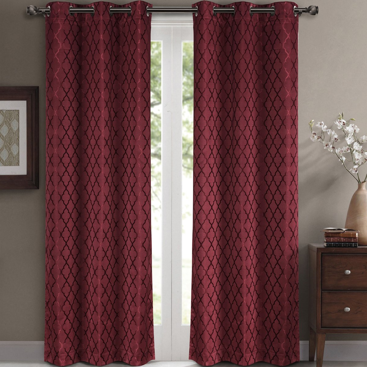 Amazon Willow Jacquard Burgundy Grommet Blackout Window Curtain Panels Pair Set Of 2 42x84 Inches Each By Royal Hotel Home Kitchen