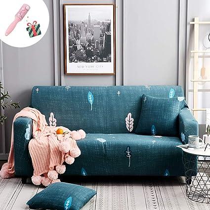 Funda Sofá de 1 2 3 4 plazas Estiramiento Chaise Longue, Morbuy Impresión Cubierta de Sofá Cubre Sofá Funda Furniture Protector Antideslizante Elastic ...