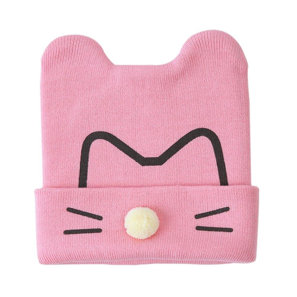 Nikuya Toddler Infant Baby Boys Girls Cat Cotton Soft Cute Kids Hat Unisex Beanies Cap (Pink)