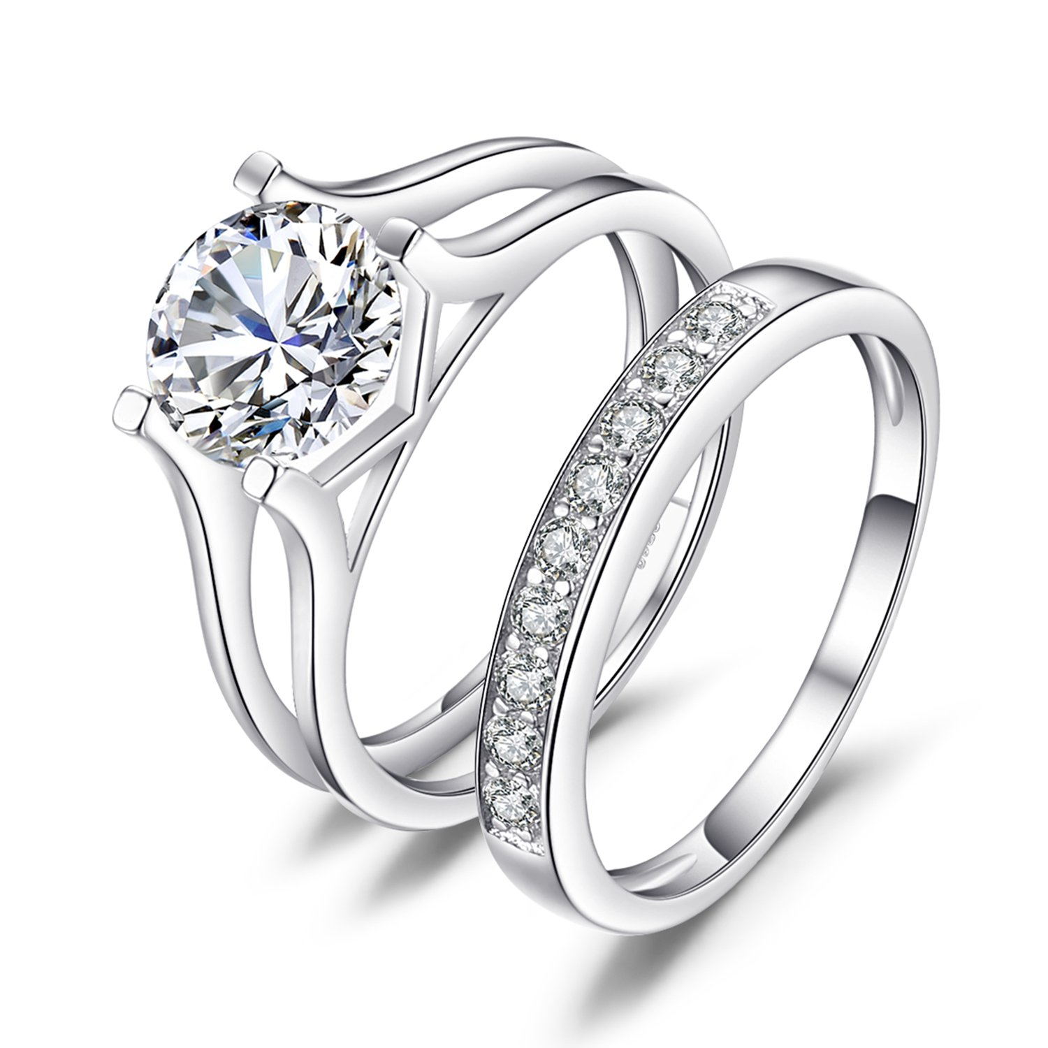 JewelryPalace 2ct Cubic Zirconia Anniversary Wedding Band Solitaire Engagement Ring Bridal Channel Set 925 Sterling Silver BR006299