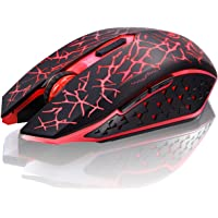 TENMOS K6 Wireless Gaming Mouse, Rechargeable Silent LED Optical Computer Mice with USB Receiver, 3 Adjustable DPI Level and 6 Buttons, Auto Sleeping Compatible Laptop/PC/Notebook (Red Light)