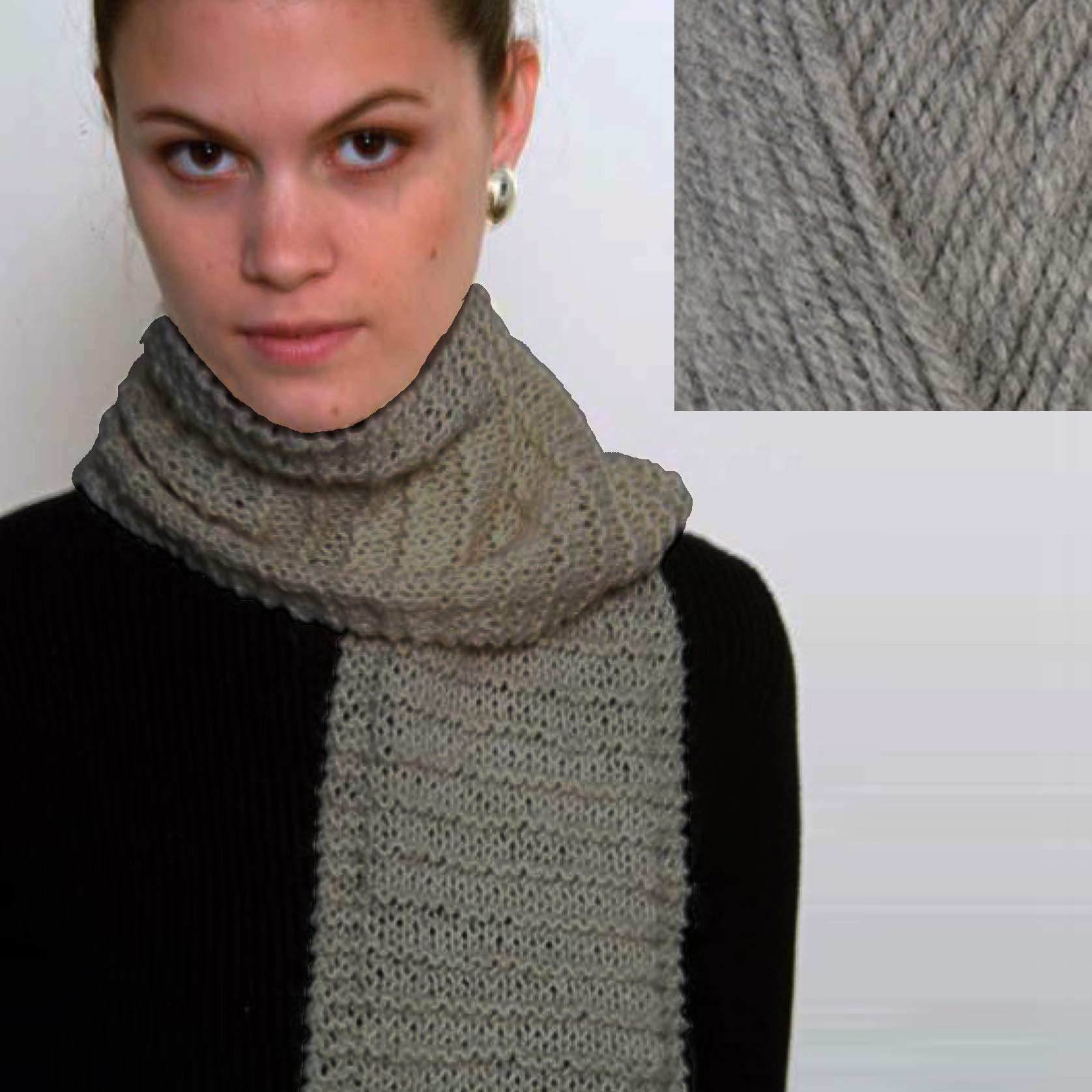 ''Beginner's Scarf'' Knit Kit with Encore Worsted Yarn - Silver Grey