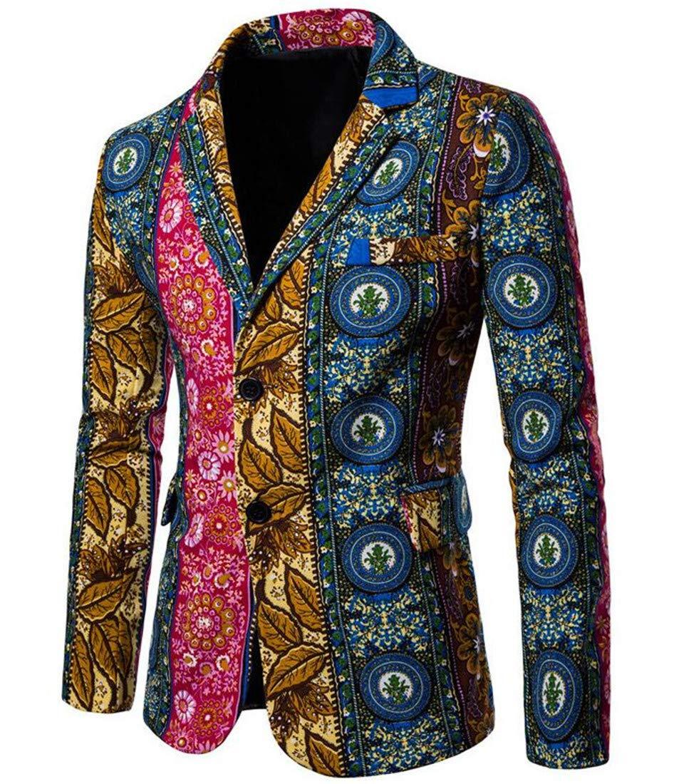 Domple Mens Lapel Slim Print 2 Button Ethnic Style Blazer Jacket Sport Coat Aspic US M