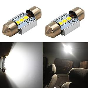 "Alla Lighting CANBUS Error Free 31mm (1.25"") Super White High Power 3030 SMD DE3175 DE3021 DE3022 3175 LED Bulbs for Interior Festoon Map Dome License Plate Lights Lamp"