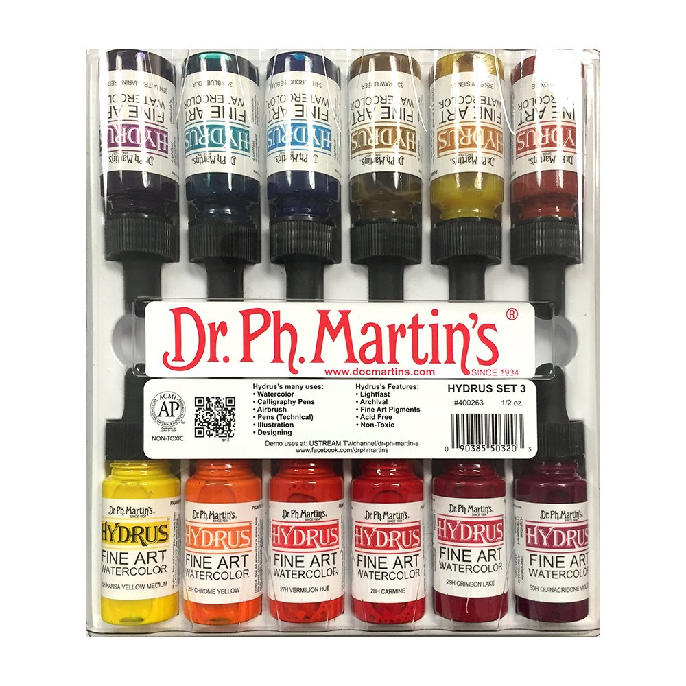 Dr. Ph. Martin's 400263-XXX  Hydrus Fine Art Watercolor Bottles, 0.5 oz, Set of 12 (Set 3)