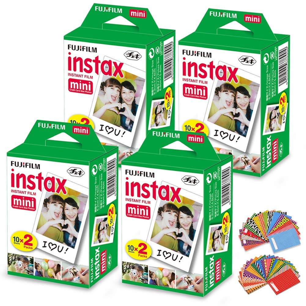 FujiFilm Instax Mini Instant Film 4 Pack (4 x 20) Total of 80 Sheets + 120 Assorted Colorful Mini Photo Stickers - Compatible with FujiFilm Instax Mini 9, Mini 8, Mini 25, Mini 90, Fuji SP-1, SP-2