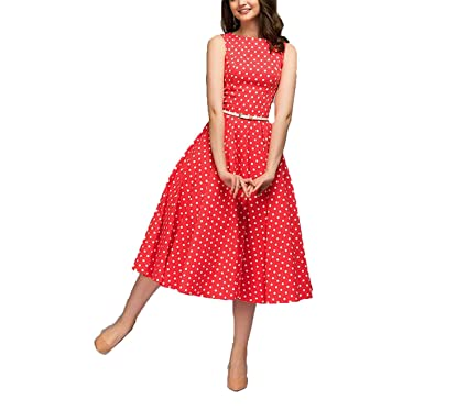 TheUniqueHouse Vintage Summer Sleeveless O-Neck Vestidos Women Elegant Thin Dot Printing Mid-Calf