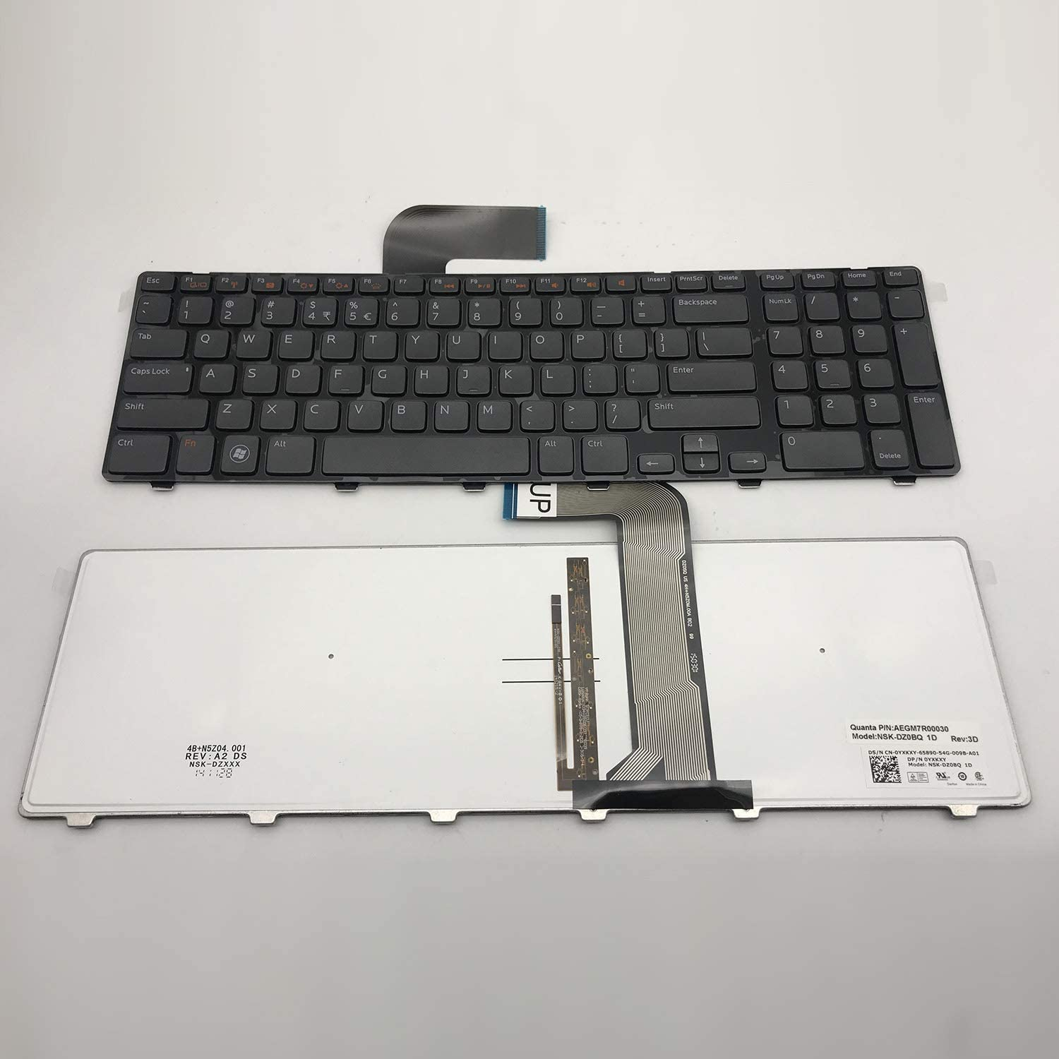 Small Enter US Layout Notebook Keyboard for Dell Inspiron 17 17R N7110 5720 7720 Vostro 3750 XPS L702X Series Black, with Frame, with Backlight, N7110