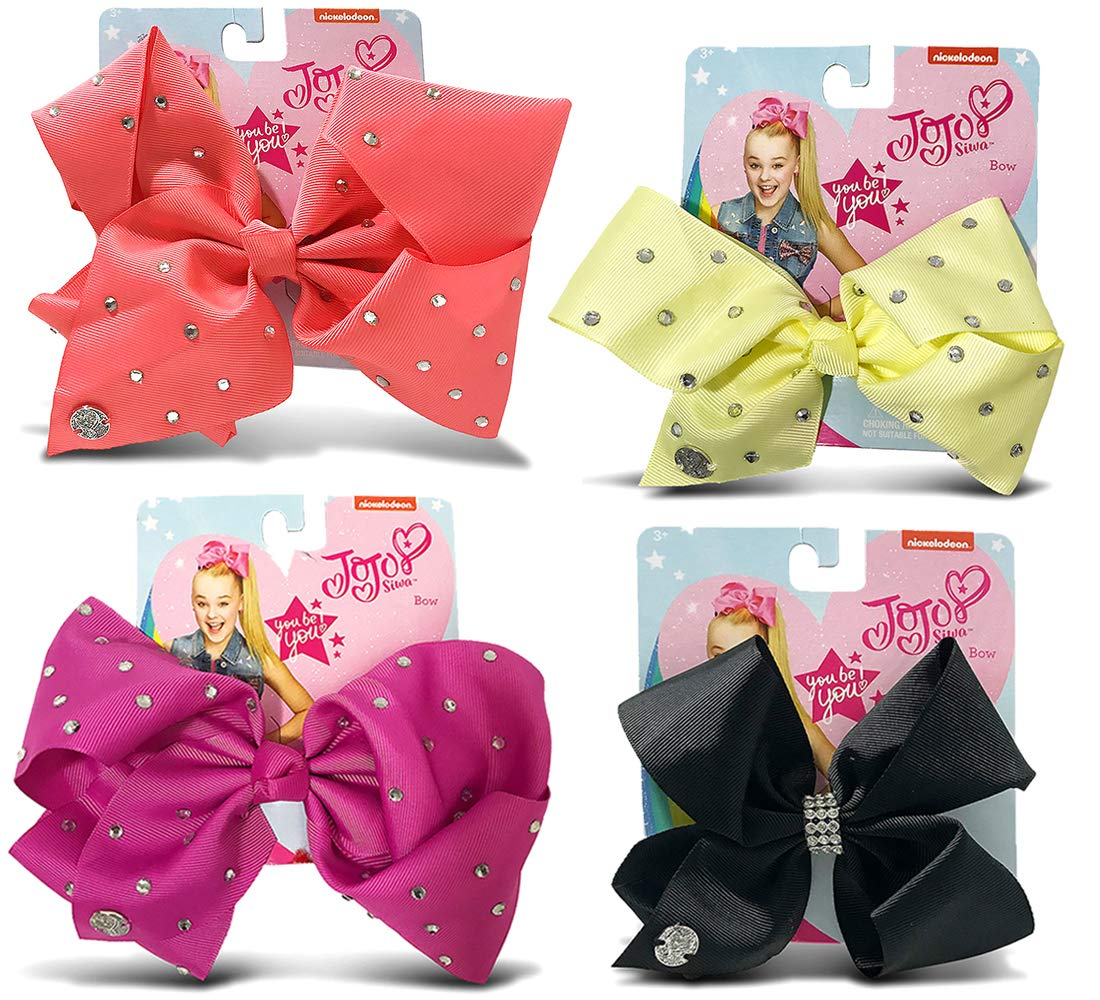 Warp Gadgets Bundle - JoJo Siwa Coral, Berry, Black Center Loop Rhinestone and Light Yellow Signature Bows with Rhinestones (4 Items)
