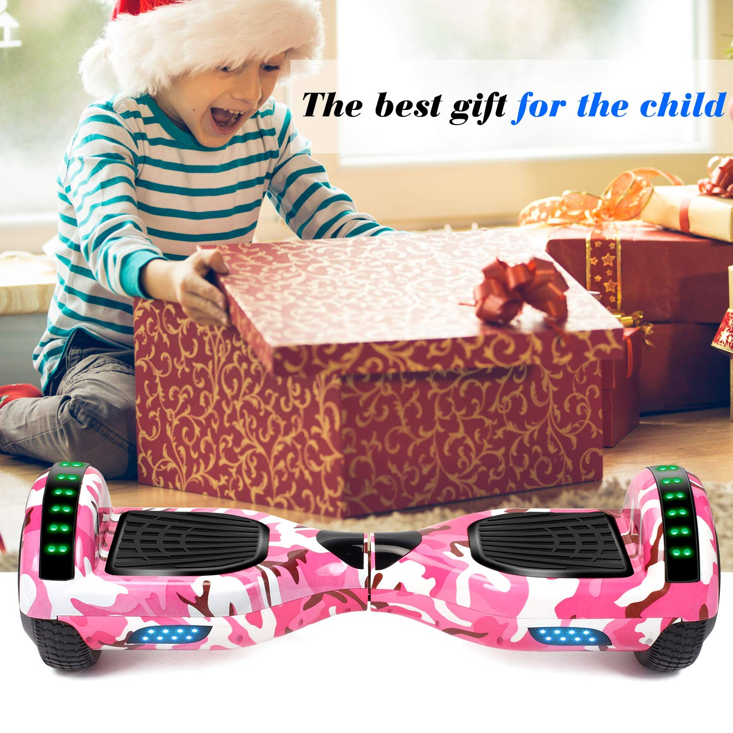 SISIGAD Hoverboard Self Balancing Scooter 6.5'' Two-Wheel Self Balancing Hoverboard with Bluetooth Speaker and LED Lights Electric Scooter for Adult Kids Gift UL 2272 Certified Fun Edition - Pink Camo by SISIGAD (Image #6)