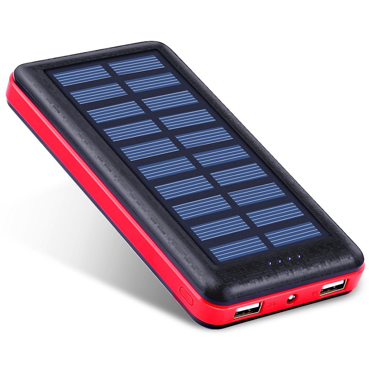 Battery Pack Antun Solar Charger Solar Power Bank 22400mAh High Capacity Power Bank Dual USB Port with Power Indiacator Travel External Solar Phone Charger with LED Flashlight Charge Protection (Rose)
