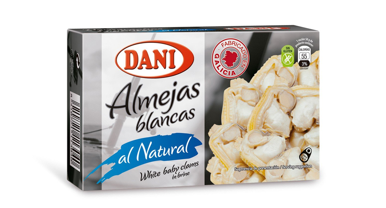 3x Pack Baby Clams in Brine (Water and Salt) Original From Galicia Spain Gluten Free (Almejas)