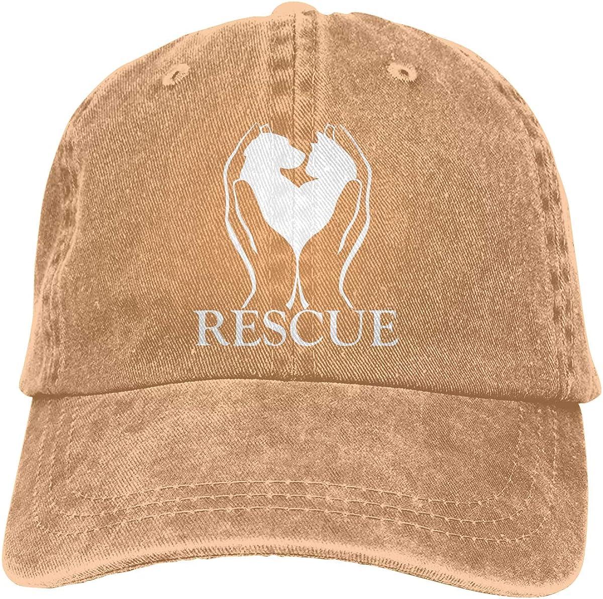 Men Women Classic Cotton Denim Baseball Cap Rescue Animals Headwear