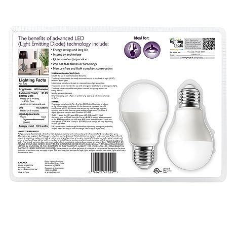 Philips 046677424893 energy-saving lamp Blanco 10,5 W E26 - Lámpara LED (Blanco, Blanco, 120 V): Amazon.es: Iluminación