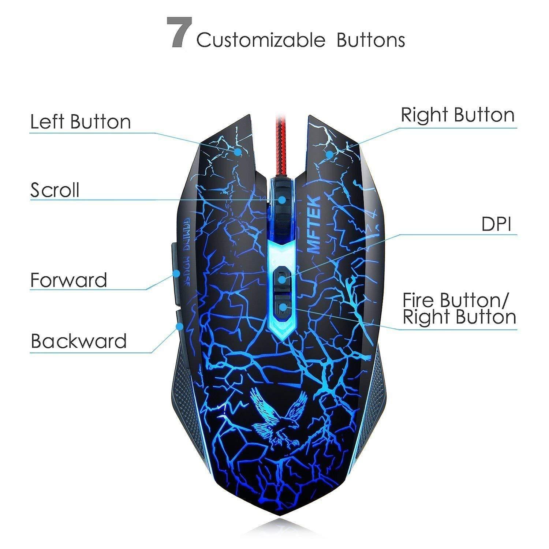 MFTEK Tag 3 2000 dpi LED Backlit Wired Gaming Mouse