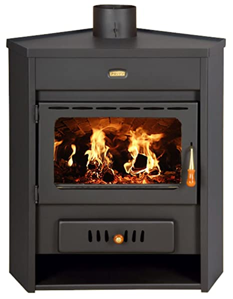 Estufa de leña con caldera esquina modelo de combustible sólido chimenea Prity AM D12