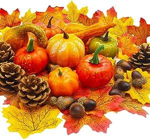 Haawooky 52PCS Mini Fake Pumpkins,Artificial Pumpkins Set,Acorns,Maple Leaves,Pinecones for Halloween,Thanksgiving Decorations
