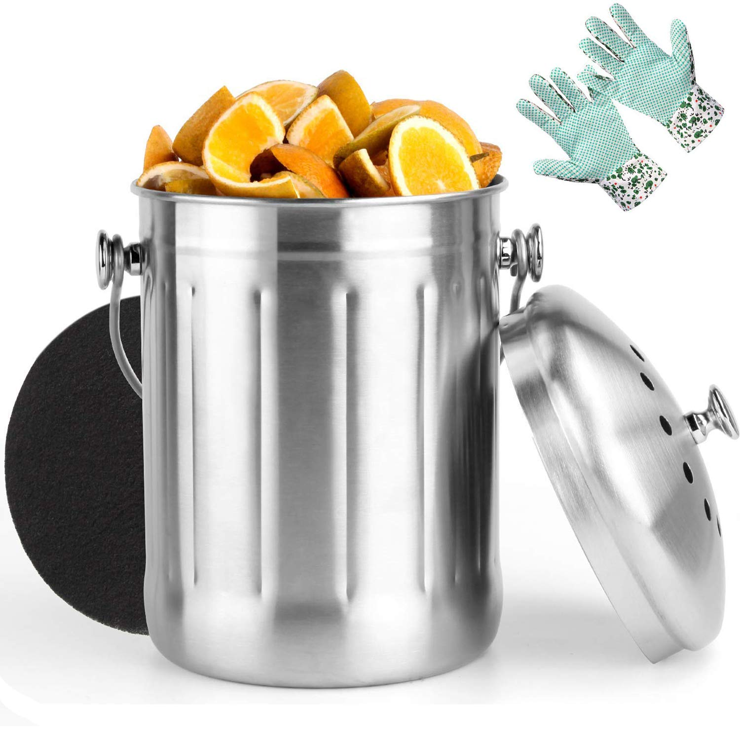 Vdomus Indoor Kitchen Stainless Steel Compost Bin Includes 1 Carbon Filter and Anti-Slip PVC Dots Garden Gloves 1.3 Gallon VMHKCB2018SS