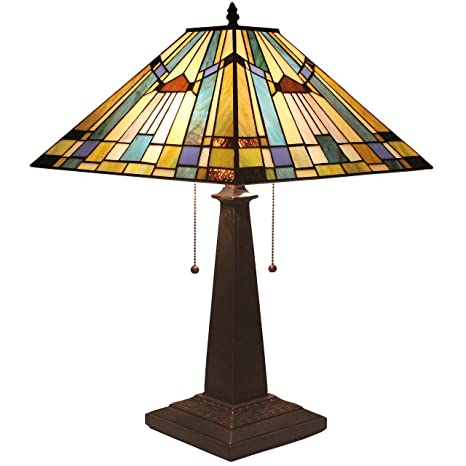Bieye l11412 16 inches mission tiffany style stained glass table bieye l11412 16 inches mission tiffany style stained glass table lamp with zinc base aloadofball Gallery